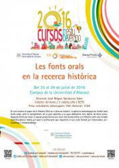 Curso de verano (UA): Las fuentes orales en la investigación histórica